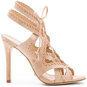 NWT Schutz Lenna Lace-Up Nude Sandals Heels  9B
